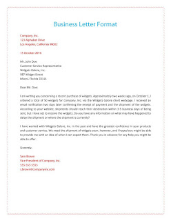 business letter example for students