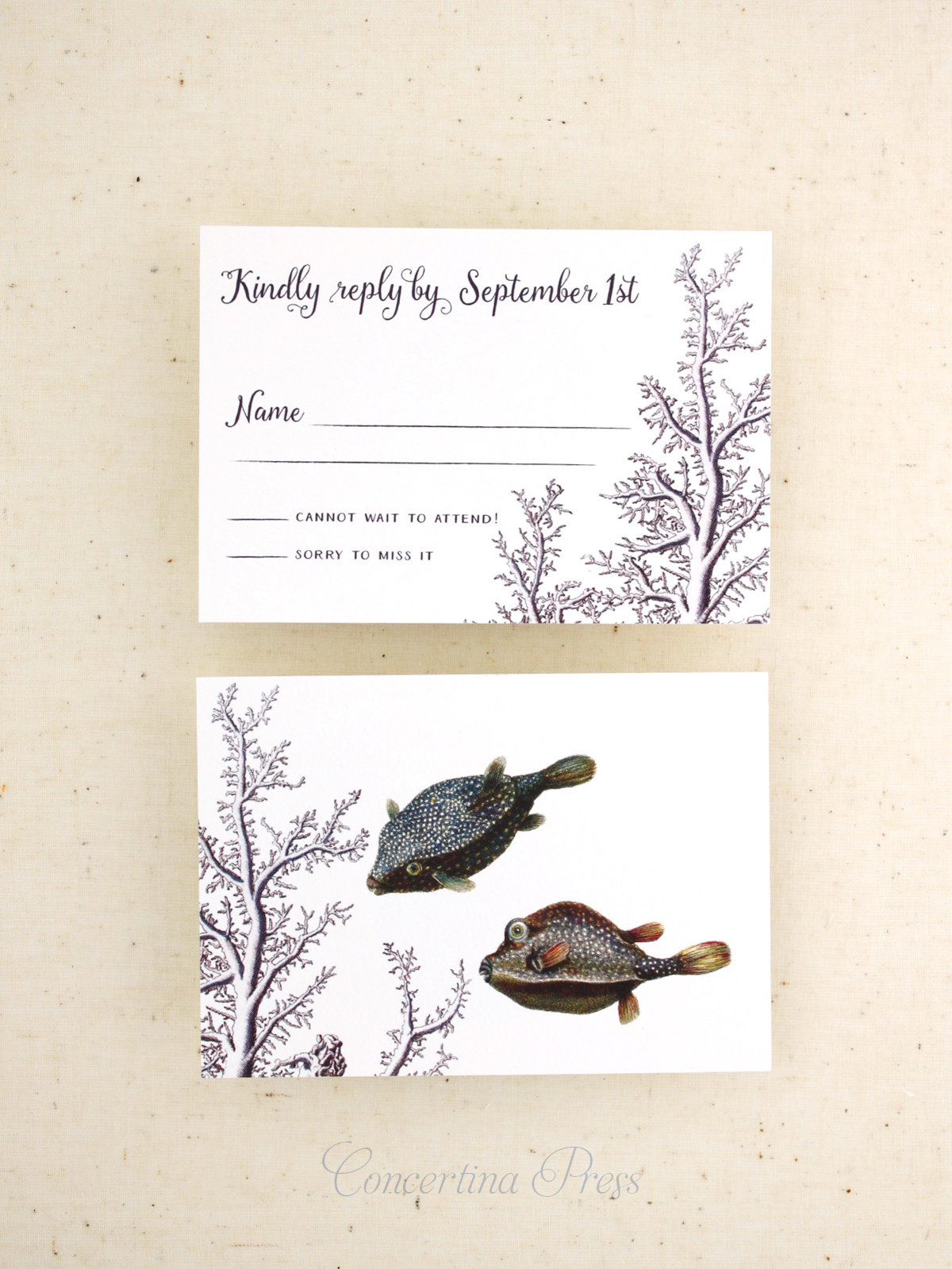 unique under the sea RSVP cards for your aquarium wedding from Concertina Press
