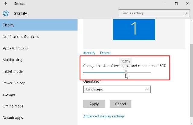 طريقة تغيير حجم الخط في ويندوز 10
