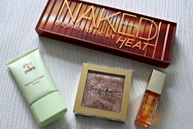 august favourites, urban decay heat palette, clarins lip oil, pixi primer, tanya burr highlighter