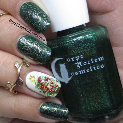 emerald holo and gold stamping polish