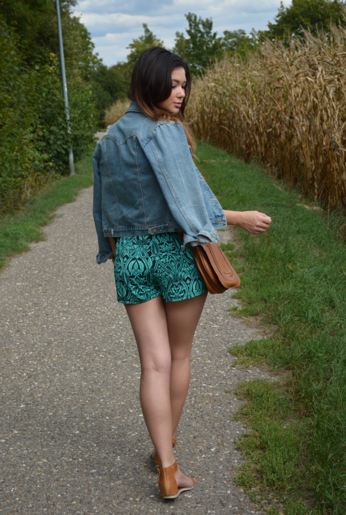 Green Crochet Romper, Rompers, Arafeel Denim Jacket, Sandals, Summer outfits