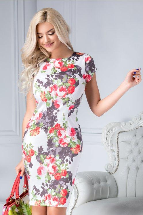 Rochie conica eleganta de zicu imprimeu pastelat cu trandafiri si croi drept