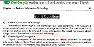 1st Year Computer Science chapter 1 Short Questions and Answers pdf