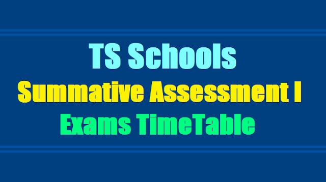 TS Schools SA I Summative Assessment I Exams Time Table Schedule 2018