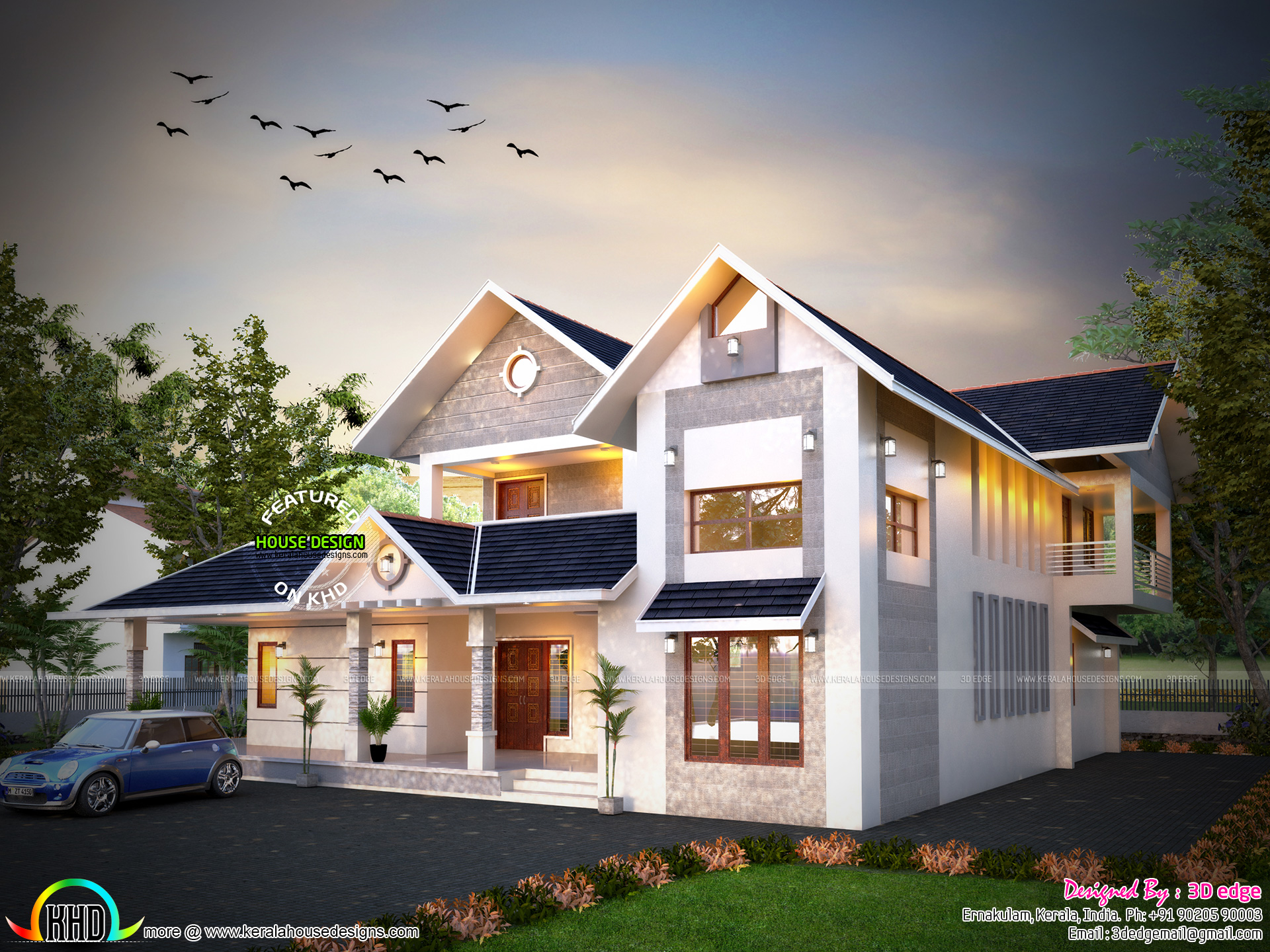 Awesome modern house with floorplan kerala home design for Awesome modern houses