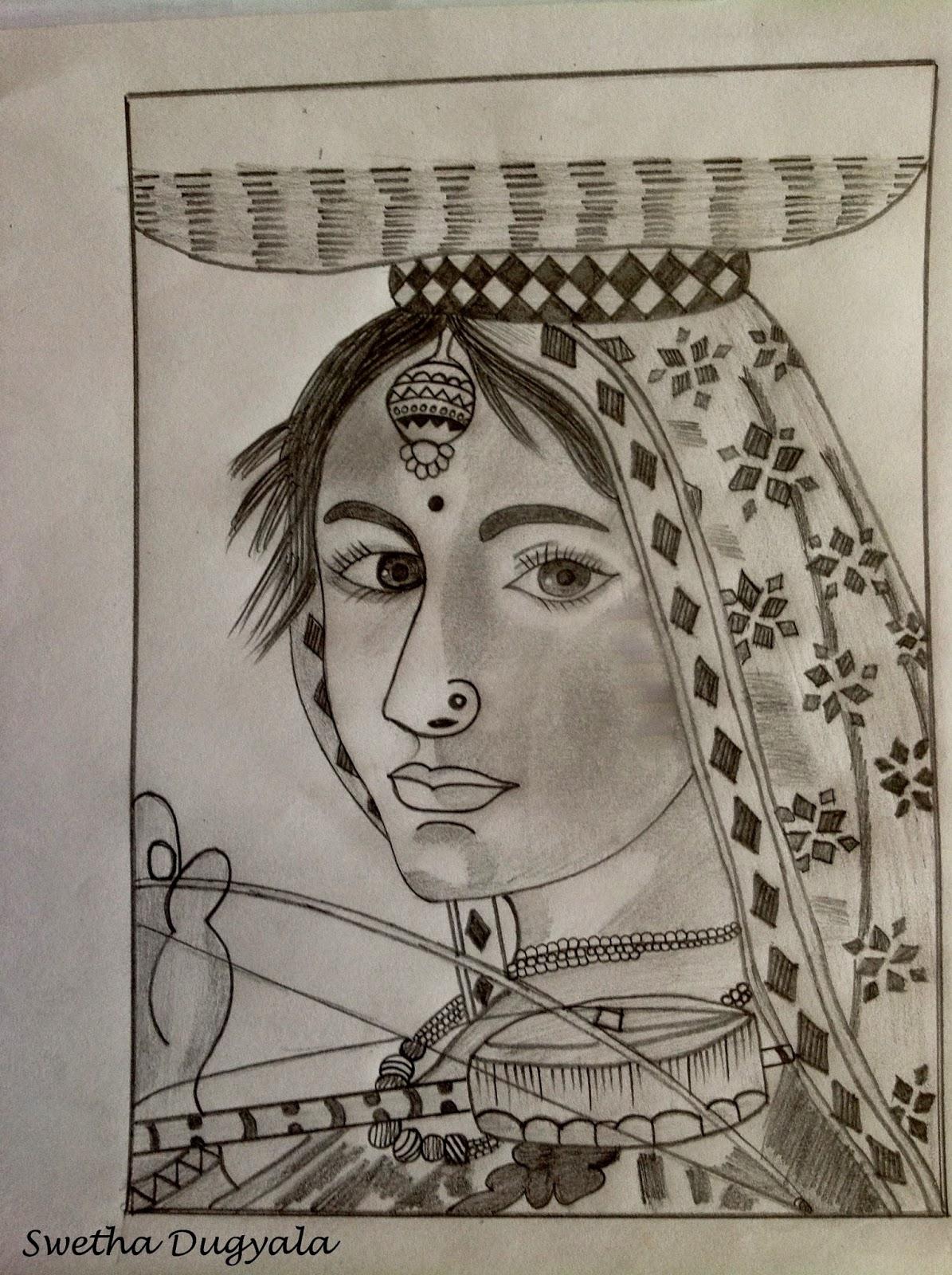 Pencil sketch of a village girl