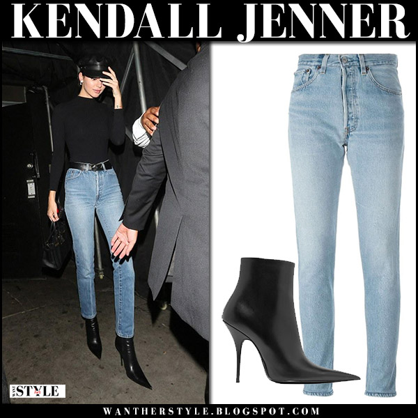 Kendall Jenner in black top, high rise jeans and black point toe boots balenciaga knife august 23 2017