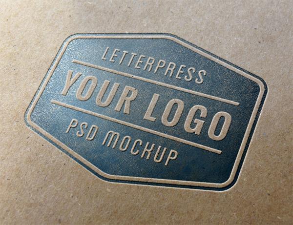 Download Logo Mockup PSD Terbaru Gratis - Letterpress 2 Logo Mockup