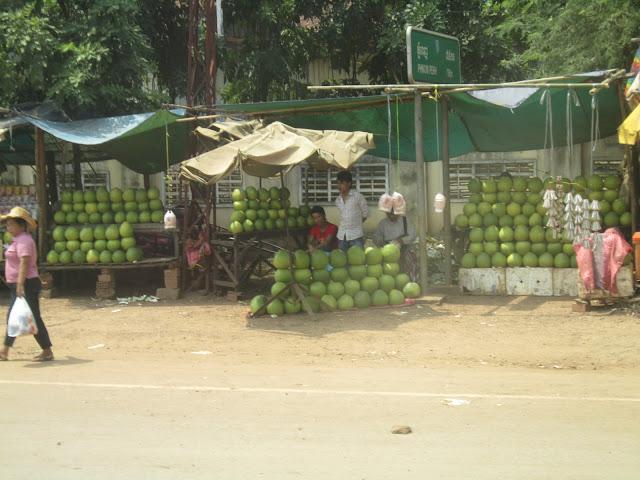 Puesto de cocos a la orilla de la carretera de camino a Kompong Thom, Camboya