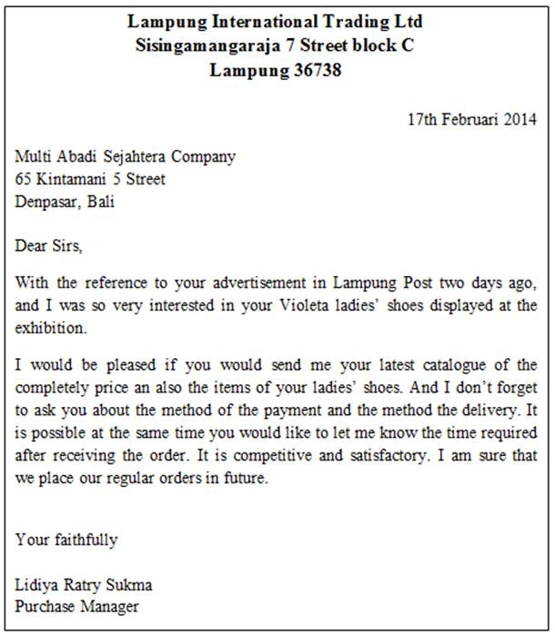 INQUIRY LETTER AND ORDER LETTER ~ Mentari