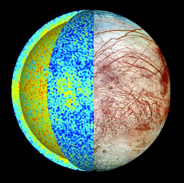 This rendering shows the temperature field in a simulation of Europa's global ocean dynamics, where hot plumes (red) rise from the seafloor and cool fluid (blue) sinks downward from the ice-ocean interface. More heat is delivered to the ice shell near the equator where convection is more vigorous, consistent with the distribution of chaos terrains on Europa. Credit: Model image created by K. M. Soderlund with the image of Europa taken from NASA/JPL/University of Arizona