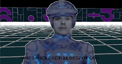 ME into TRON LIGHTCYCLE CyberSpace-3D Animation