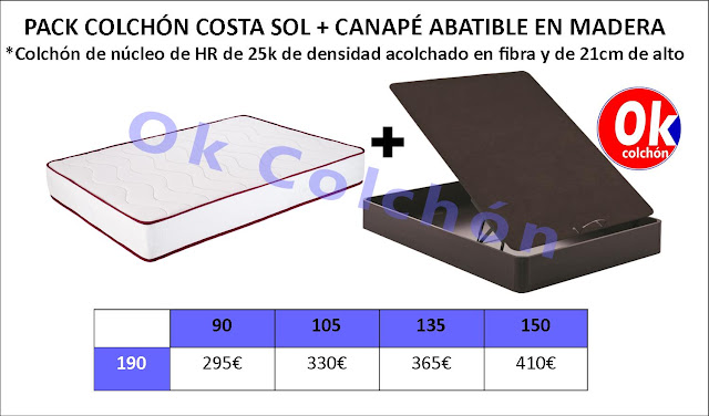 Pack Ahorro Colchón Costa Sol + Canapé Abatible