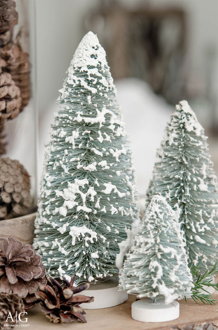 A collection of bottlebrush trees covered in snow....simple winter decor.  |  www.andersonandgrant.com