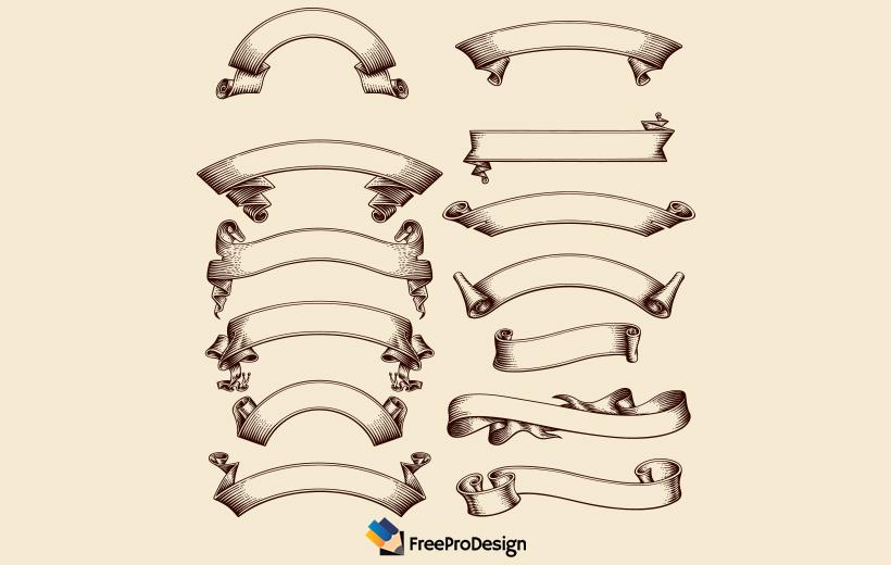 vintage ribbon vector for graphic designer, vintage ribbon