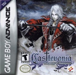 Portada del cartucho de la portátil de Nintendo GBA, de Castlevania: Harmony of Dissonance, Konami, 2002