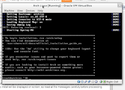 arch linux installation first screen