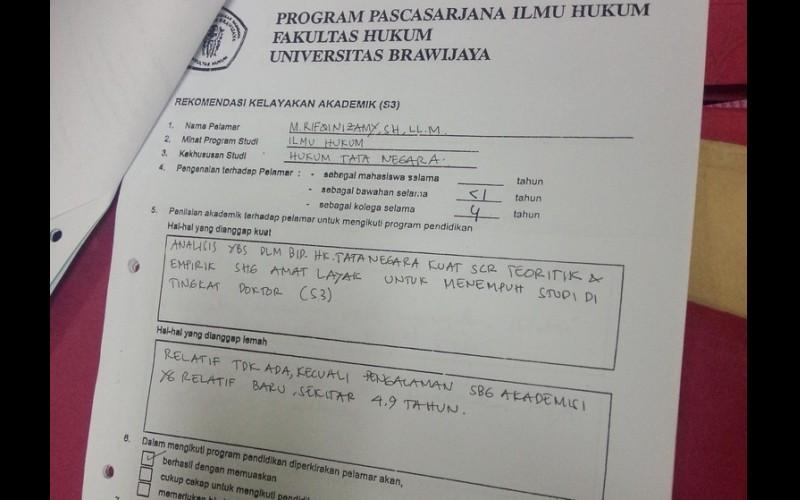 Rekomendasi kelayakan Rifqinizamy mengikuti program S3 di Universitas Brawijaya