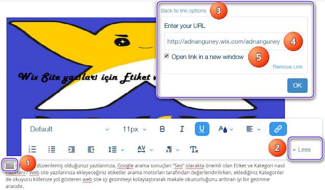 Wix yazı editöründe metine bağlantı linki oluşturma