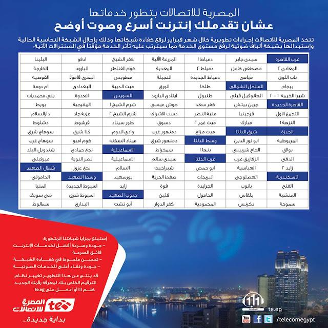 المصرية للاتصالات تعلن عن أسماء المناطق التى سيتم قطع خدمة الانترنت بها