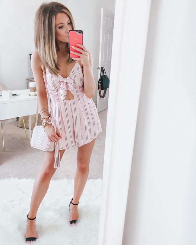 nordstrom row a tie pink romper