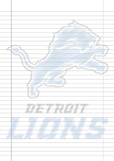 Papel Pautado Detroit Lions rabiscado PDF para imprimir na folha A4