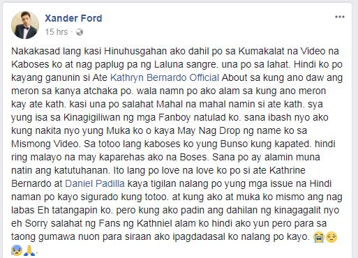 Xander Ford statement Kathryn Bernardo video