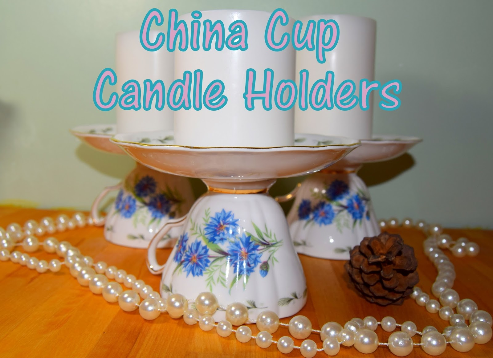 Up cycled China Cup Candle Holders...