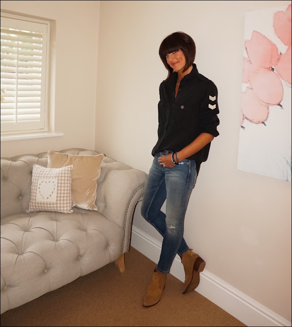 My Midlife Fashion, Mango military shirt, zara skinny jeans, zara cowboy block heel ankle boots