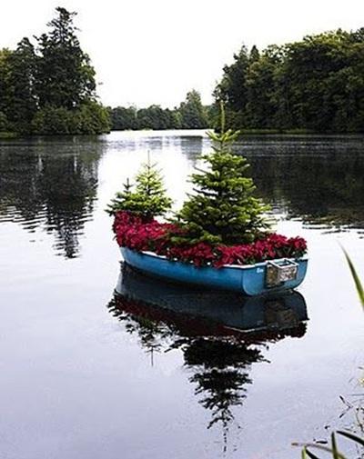 Pot tanaman dari perahu bekas dipajang di danau lebih menarik karena sesuai dengan fungsi perahu kayu.