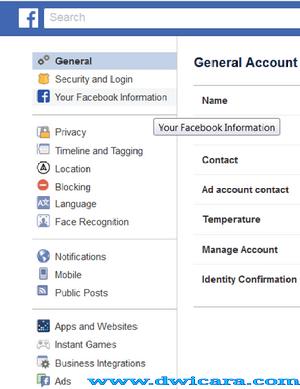 cara menghapus akun facebook sendiri di hp
