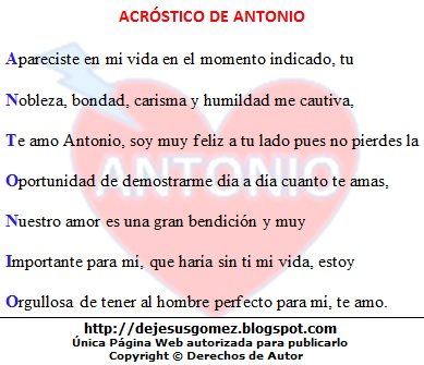 Imagen con el acróstico Antonio y un fondo de corazón hecho por Jesus Gómez