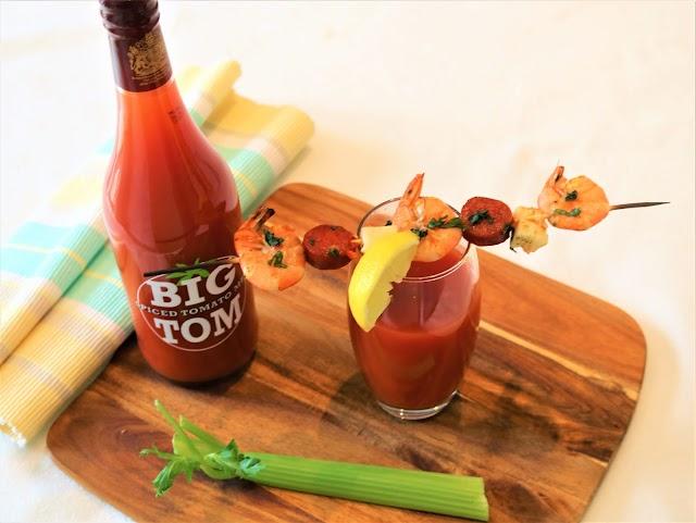 Bloody Mary with Paprika Prawn, Chorizo & Halloumi Kebab Garnish