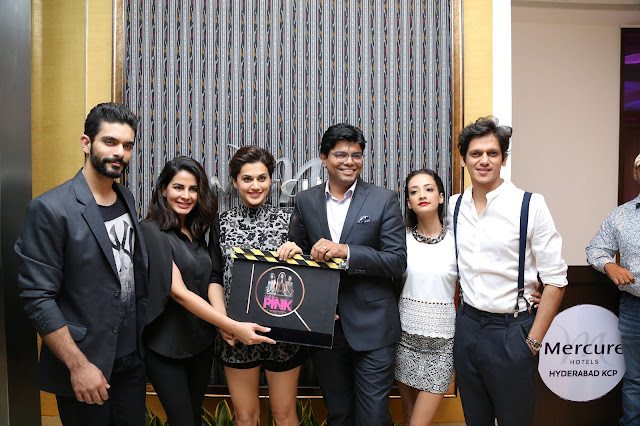 GM  Dinesh Rai with the Star cast of PINK Movie at the opening of IQ The Lounge Bar at Mercure Hyderabad KCP (2)-min