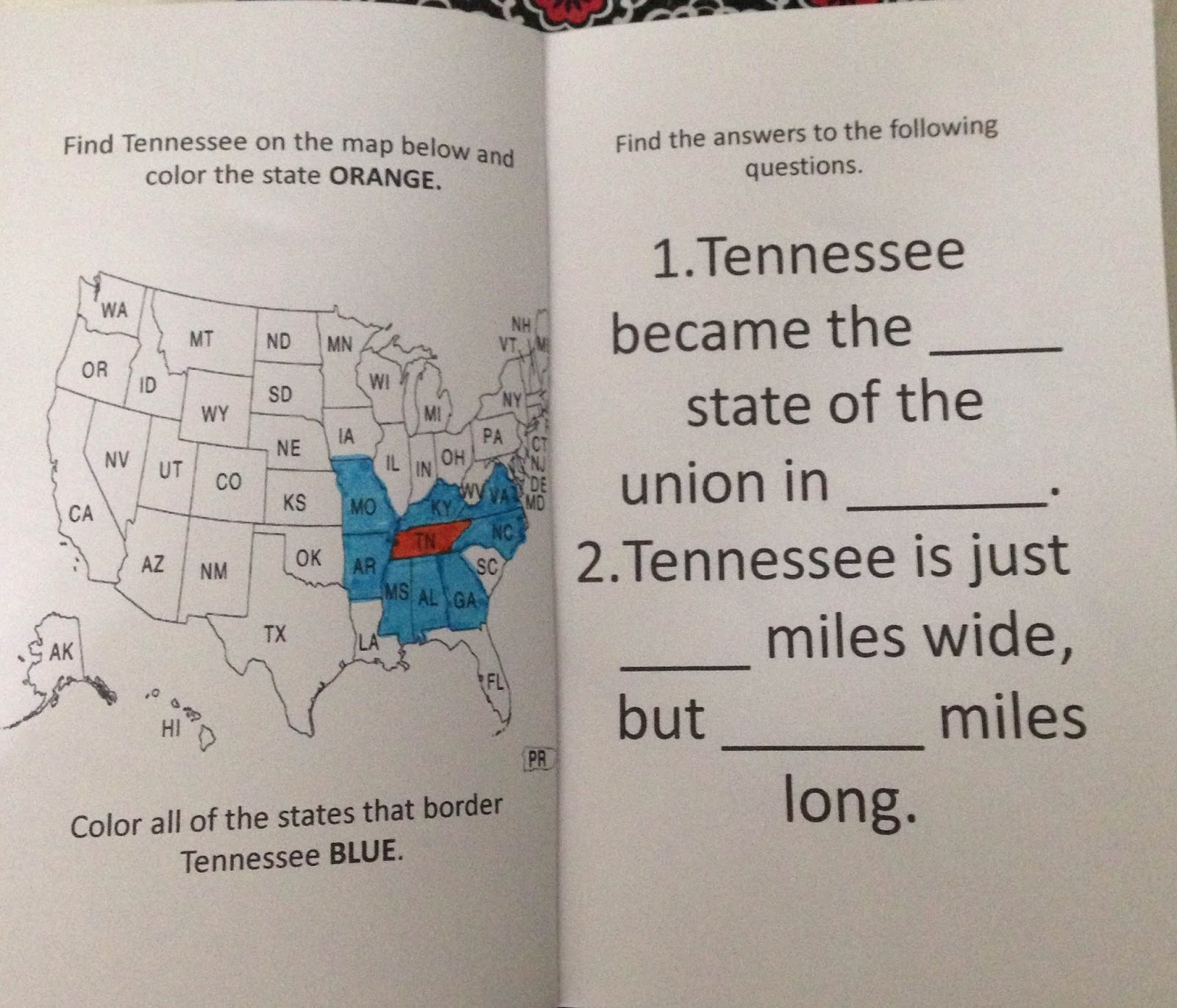 in addition on page two i have some questions they must find on the internet such as in what order tennessee joined the united states and the date