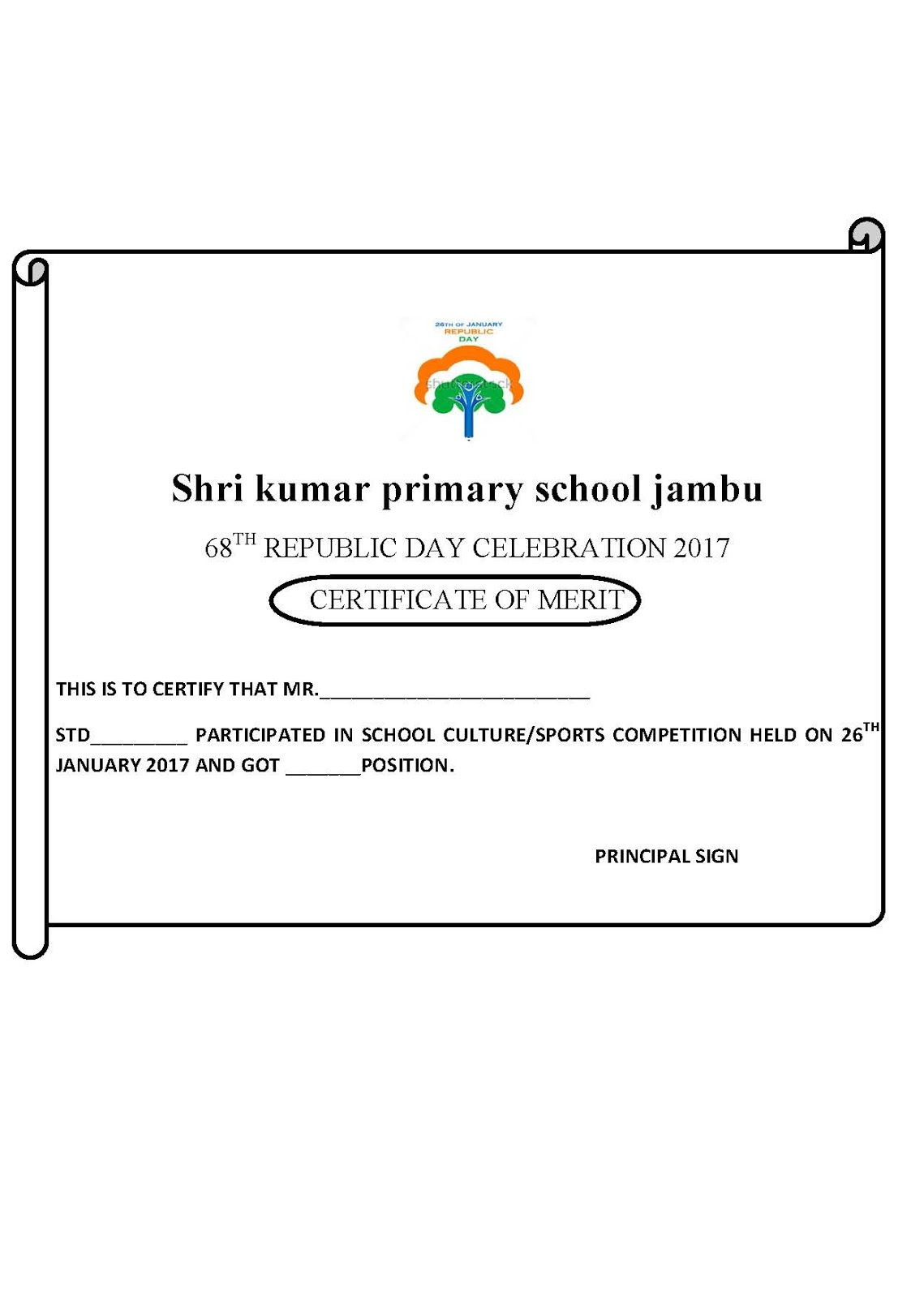 Sample of republic day celebration certificate harshadlk sample of republic day celebration certificate yelopaper Choice Image