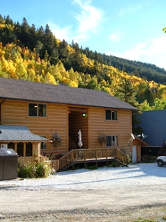 Fall colors surrounding Ski Town Condos on a sunny day.