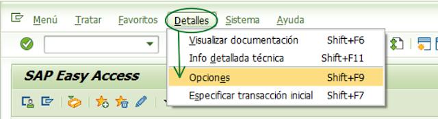 Opciones del usuario SAP - Consultoria-SAP