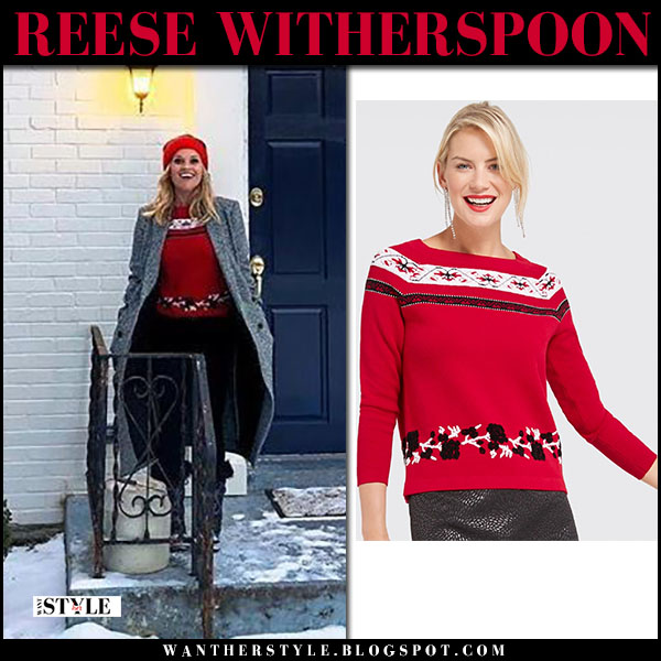 Reese Witherspoon in grey coat, red sweater and red pom pom hat draper james winter fashion january 18
