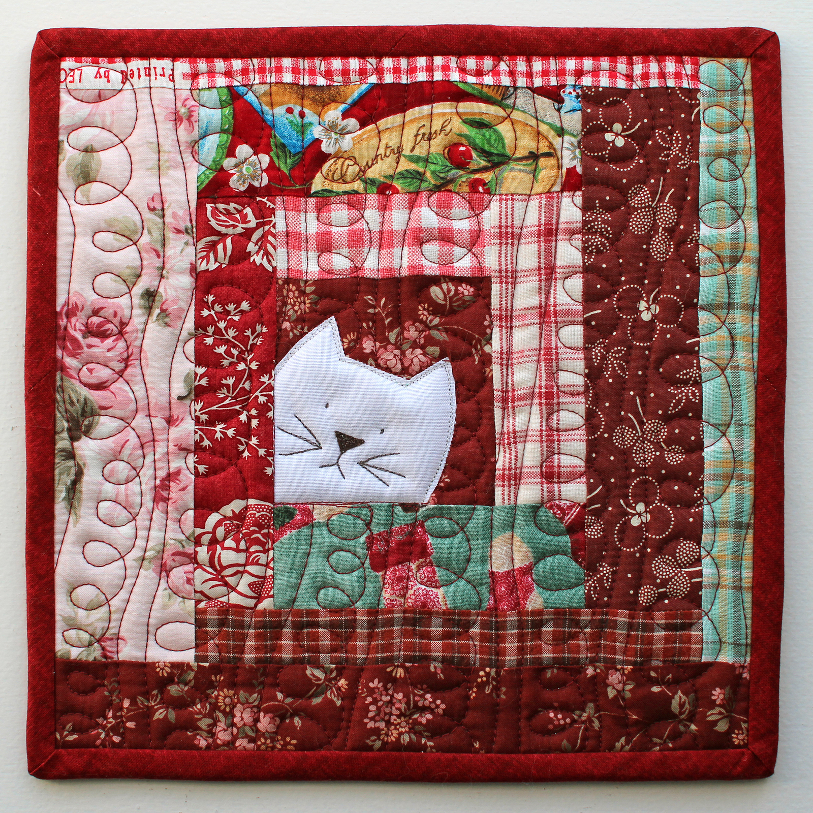 PatchworkPottery: Kitty Potholder pattern : quilted potholder pattern free - Adamdwight.com