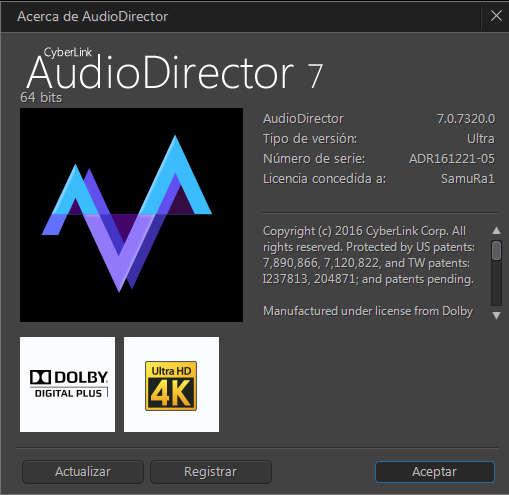 CyberLink AudioDirector Ultra Versión 7.0.7320.0 Español