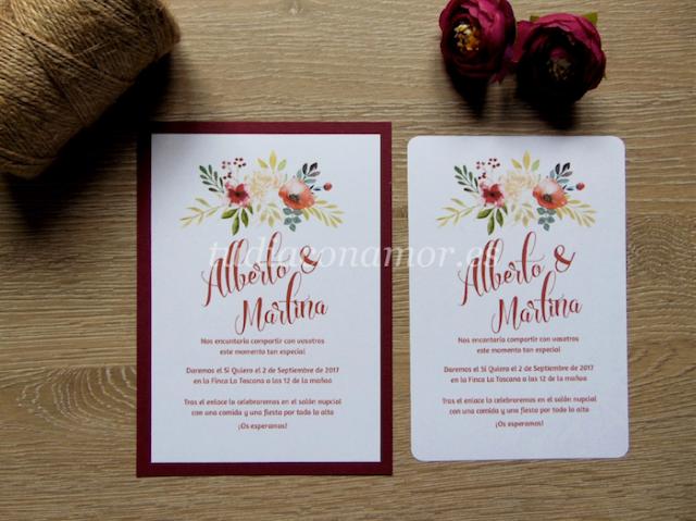 Invitaciones de boda estilo vintage con flores pintadas en color marsala