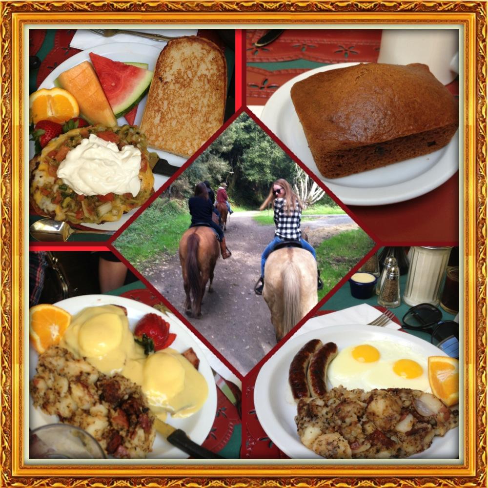 Pumpkin Raisin Bread, Eggs, Sausage, Potatoes, Corned Beef Eggs Benedict, Burger on Dutch Crunch