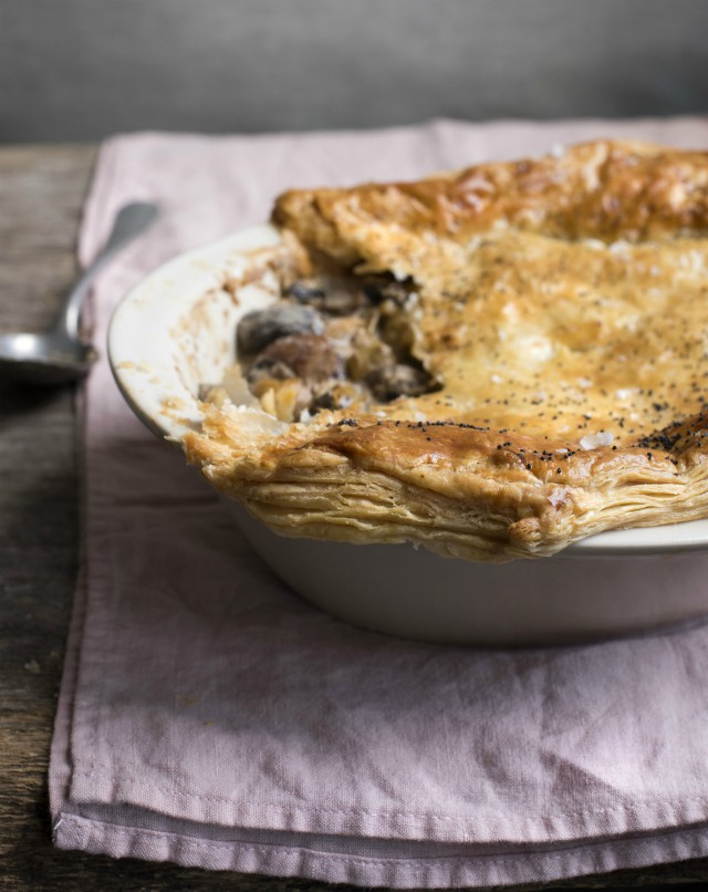 Creamy Mushroom, Leek and Chestnut Pie from Jo Pratt's Flexible Vegetarian