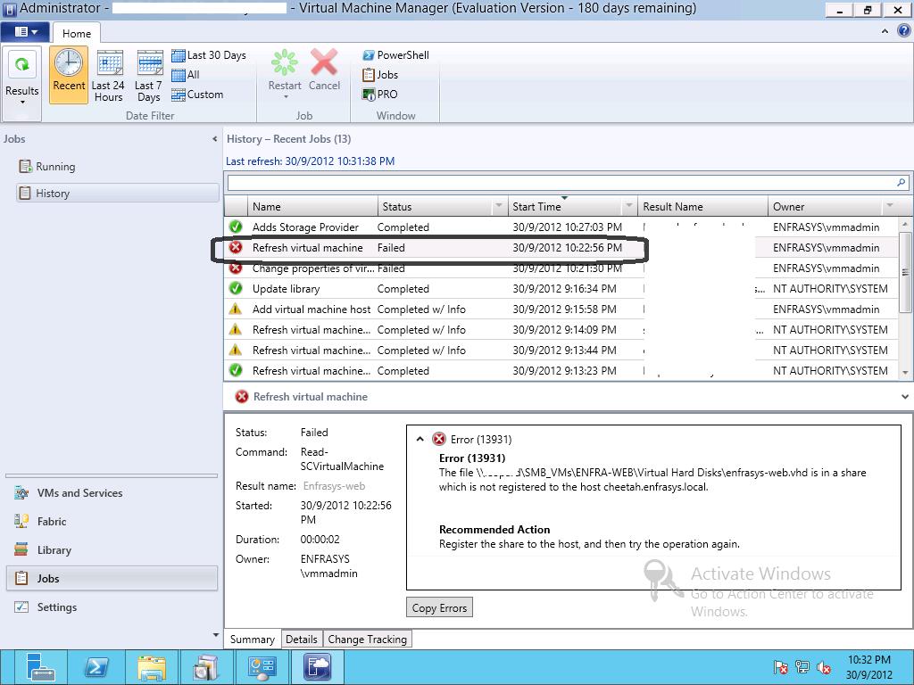 Unsupported VM Configuration in SCVMM for SMB File Share VHDX | V-ENFRA