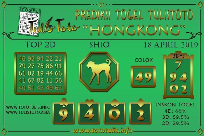 Prediksi Togel HONGKONG TULISTOTO 18 APRIL 2019