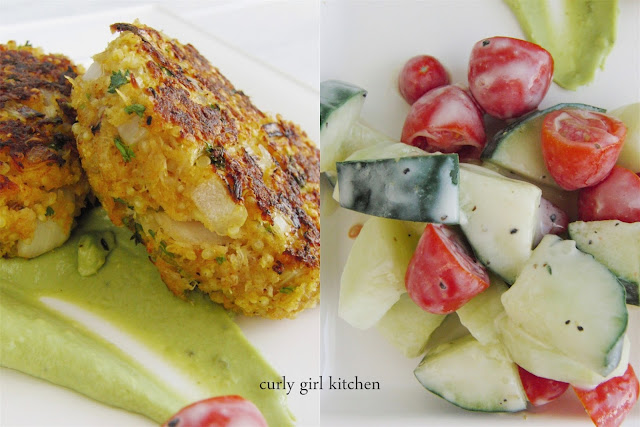 http://www.curlygirlkitchen.com/2013/07/crab-quinoa-cakes-with-avocado-cream.html