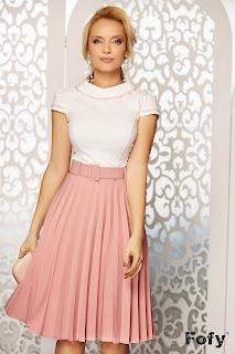 Fusta eleganta plisata roz si curea in talie Fofy