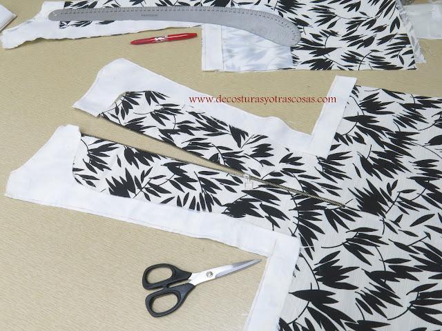 como coser un vestido blanco y negro